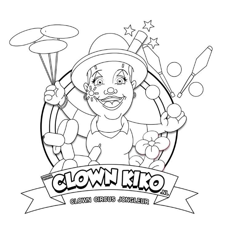 kleurplaat en links clown kiko clown jongleur magic